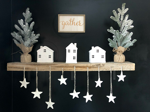 DIY Scented Clay Ornaments hanging from shelf