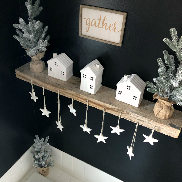 Bathroom Shelf displaying homemade scented clay ornaments