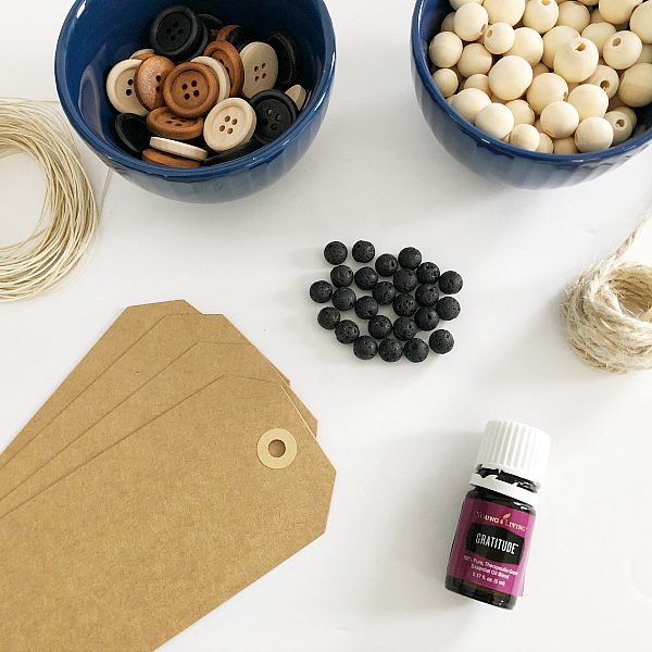 Items needed when making a DIY diffuser bookmark