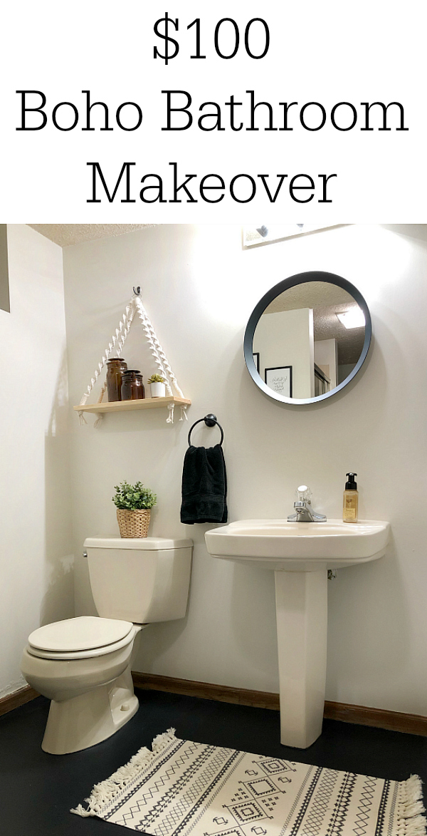$100 Boho Bathroom Makeover Pinterest Image