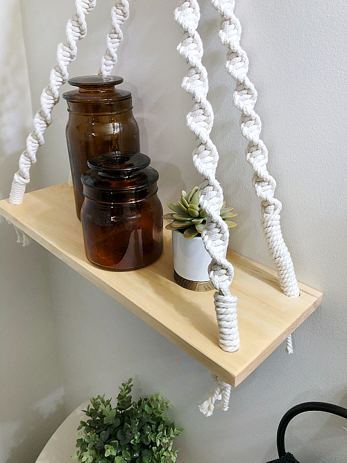 DIY Macrame Shelf in Boho Bathroom