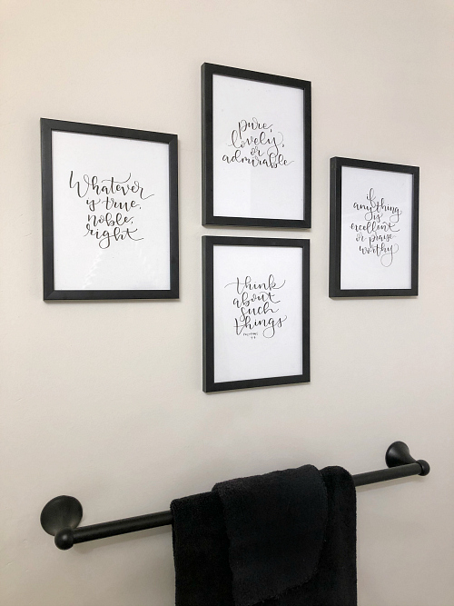 Free Hand Script Verse in Boho Bathroom Makeover