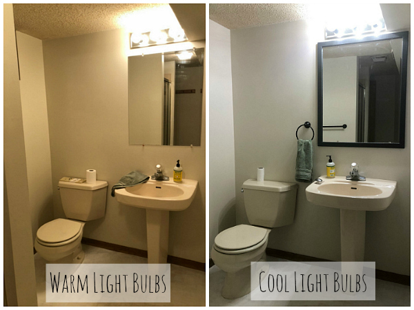 Side by side image of warm vs cool light bulbs in bathroom space