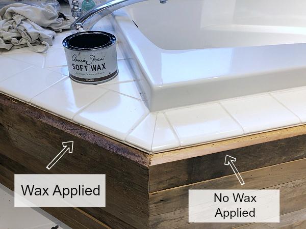 Raw edge with dark wax applied vs no wax applied