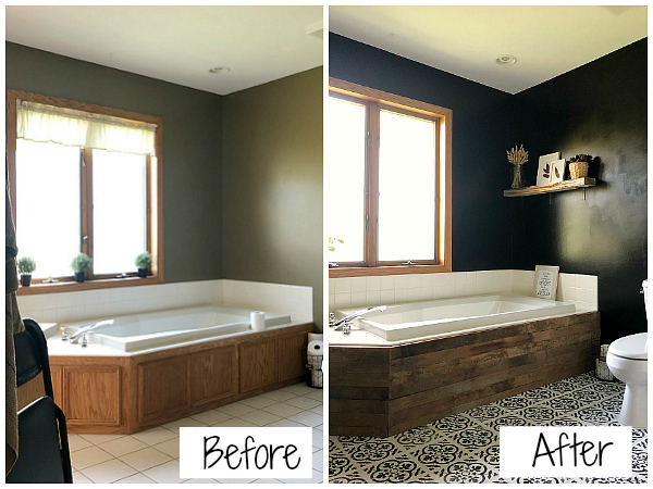 Side by side before and after of an updated tub surround with barnwood