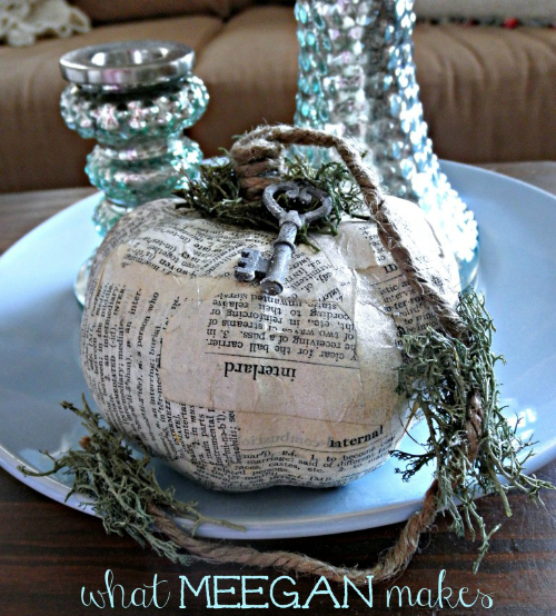 DIY Book Page Pumpkin from What Meegan Makes