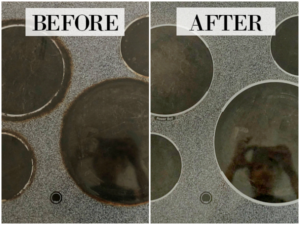 Glass Stove Top Before and After Cleaning