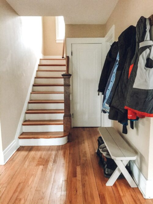 $100 Staircase Makeover by Little by Little Home Before