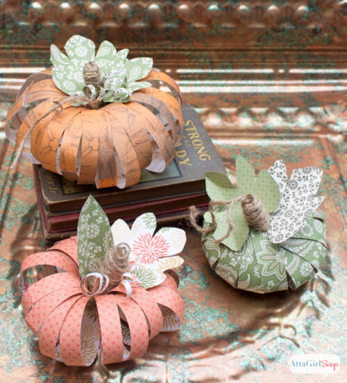DIY Scrapbook Paper Pumpkins from Atta Girl Says