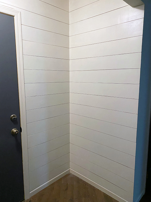 Painted shiplap walls on a budget