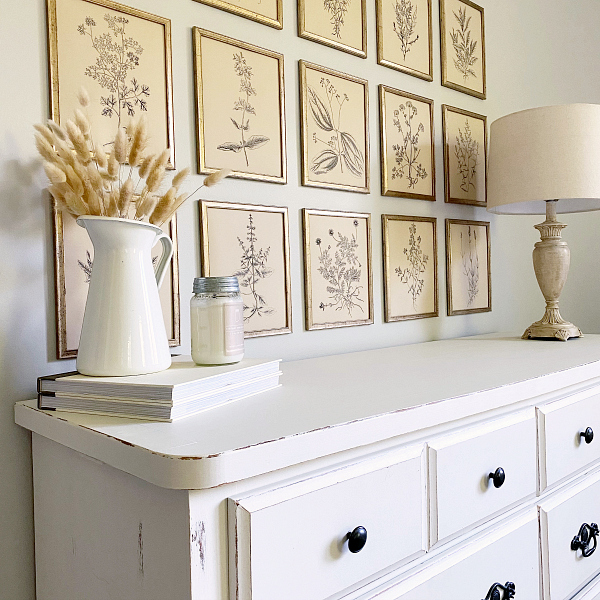 Farmhouse lamp makeover shown with lamp on bedroom dresser
