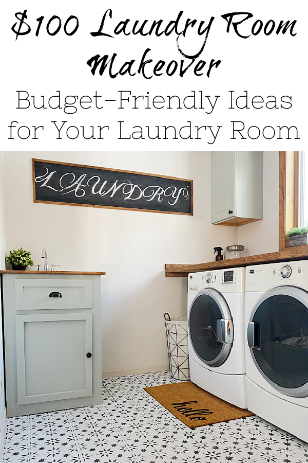 This $100 Laundry Room Makeover is FULL of budget-friendly ideas, with everything from a stenciled floor to a clever way to hide a utility sink!