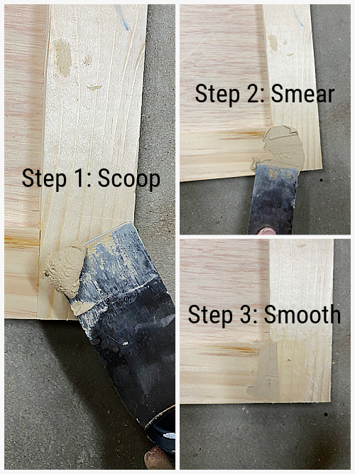 Applying wood filler to seams of DIY Shaker Door: Scoop, Smear, Smooth
