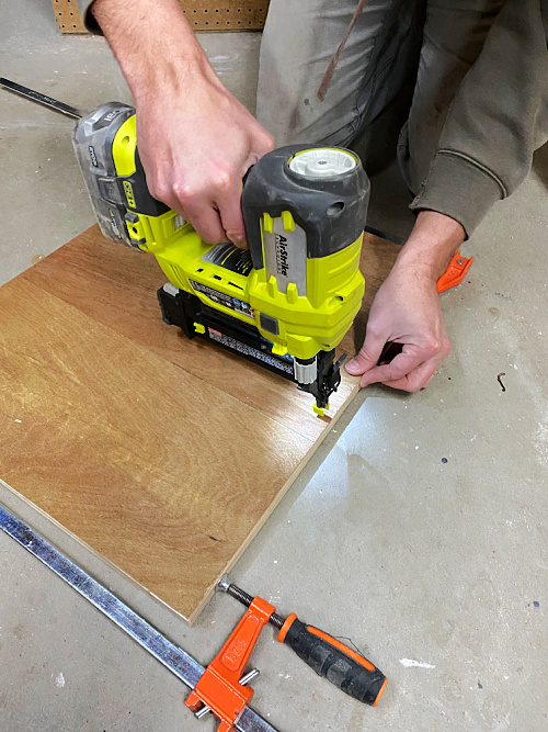 Attaching underlayment to back of Shaker Door Frame using a nail gun