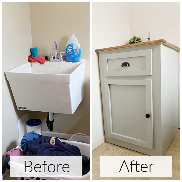 Before and After of Faux Vanity Made to Hide A Utility Sink