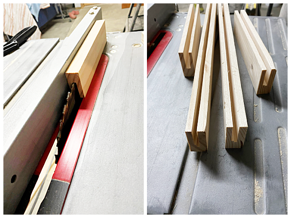 Using table saw to create grooves for underlayment when making DIY Shaker Drawer Fronts