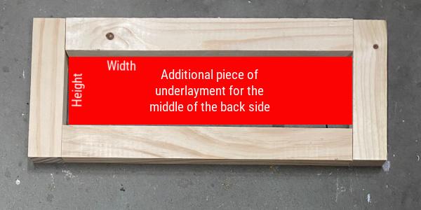 Measurements for extra underlayment on back of DIY Shaker Drawer Front