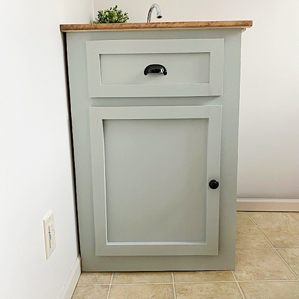 Finished Faux Vanity to hide a utility sink