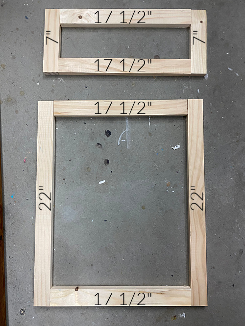Measurements used for the frames on DIY Shaker Door and Shaker Drawer Fronts