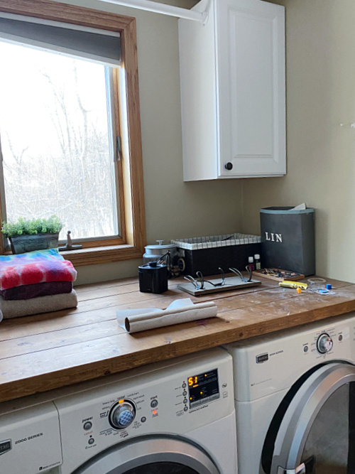 Laundry Room Before $100 Makeover