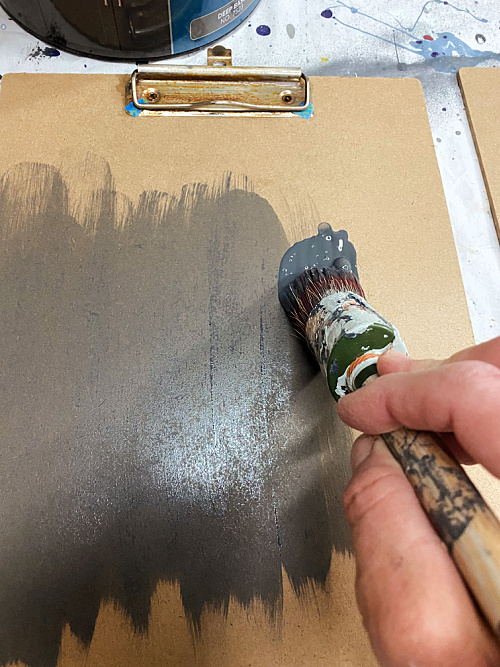 Painting DIY Vintage Clipboards in Cyberspace by Sherwin Williams