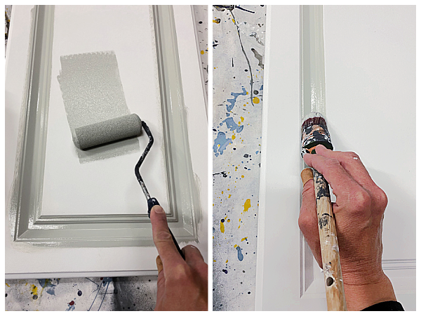 Painting laminate cabinets with foam roller and paintbrush