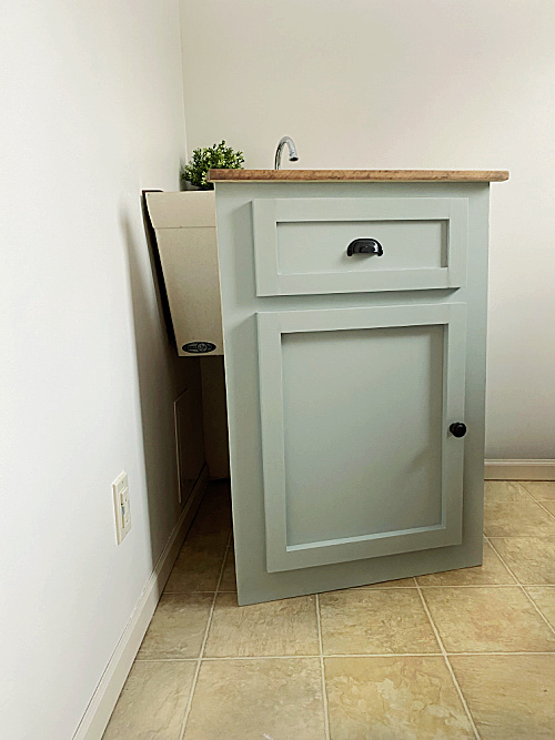Faux Vanity to Hide Utility Sink can be removed to access plumbing