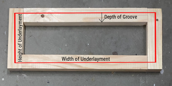 How to figure out the height and width of underlayment for DIY Shaker Drawer Front