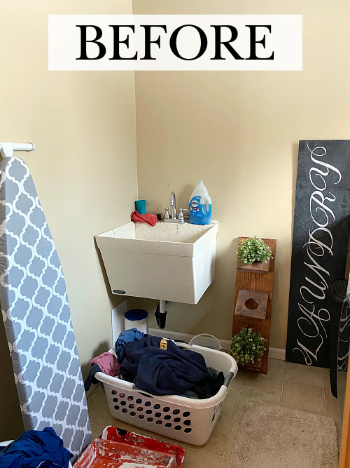 Utility sink in laundry room prior to making a faux vanity to hide it