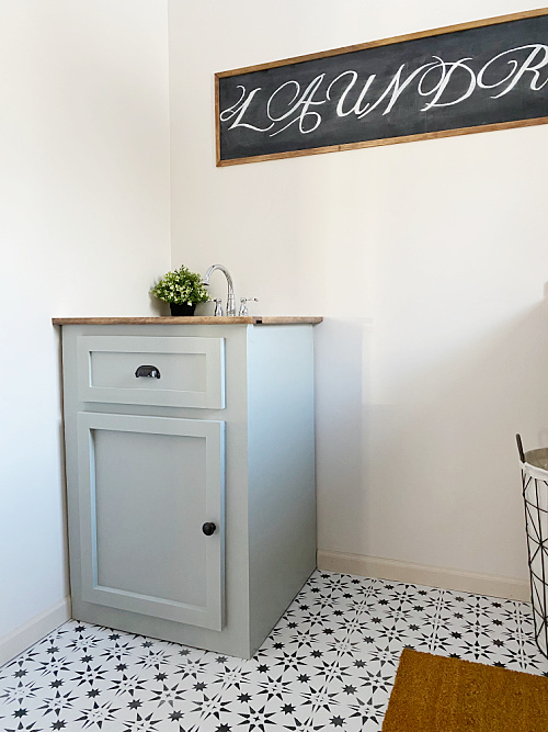Utility Sink Hidden with Faux Vanity in $100 Laundry Room Makeover