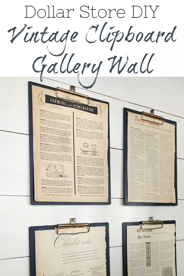 This easy gallery wall was made with clipboards from the dollar store. The metal clips were aged and rusted, while the clipboards were painted. Add some old magazine clippings from vintage magazines and you have the perfect farmhouse gallery wall!