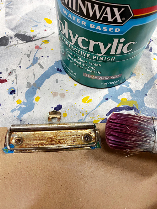 Sealing rust with polycrylic on DIY Vintage Clipboards