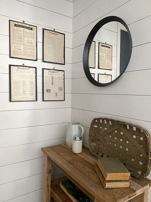 DIY Vintage Clipboards on Shiplap Wall in Entry