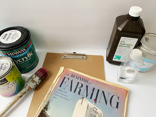 Items needed to make DIY vintage clipboards