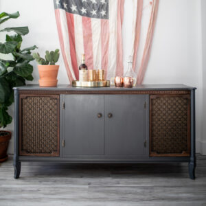 Record Player Console in Dark Blue/Gray with wood accented doors