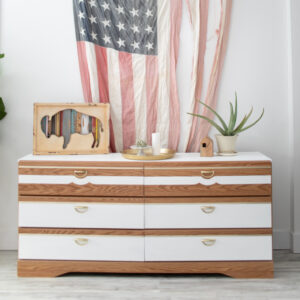 Mid-Century Modern Dresser. White with wood accents