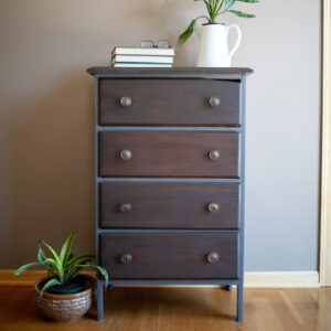 Small Antique Dresser Blue frame and wood drawers