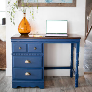 Blue Entry Console with Wood Top and Brass Hardware