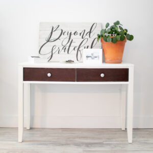 Small White Console Table with Dark Wood Drawers