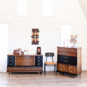 Mid-Century Modern Wood Dressers with Black Accent Drawers