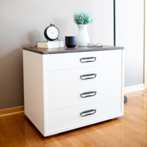 End Table. White with wood top and black hardware