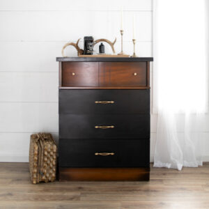 Mid-Century Modern Dresser. Wood with Black Drawers and Gold Hardware
