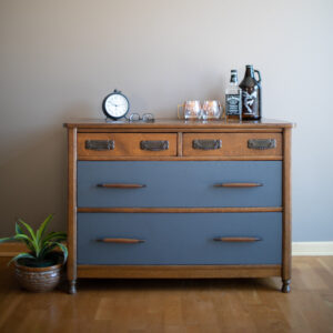 Mid Century Modern Buffet with Blue Drawers