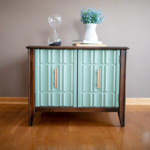Wooden End Table with Aqua Doors and Gold Pulls