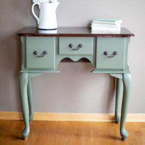 Three Drawer Small Vanity painted in Fusion Mineral Paint in the color Bayberry
