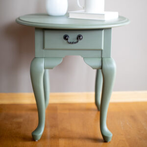Small Round End Table / Nightstand painted in Fusion Mineral Paint in the color Bayberry