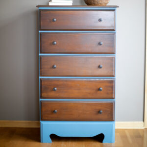 Blue Dresser with Wood Drawers