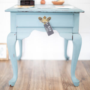 Chippy End Table Painted in Fusion Mineral Milk Paint in the Color Monterey