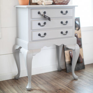 Gray Queen Ann Table/Chest with Black Hardware