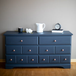 6 Drawer Dresser painted in Fusion Mineral Paint in the color Midnight. Antique copper hardware.